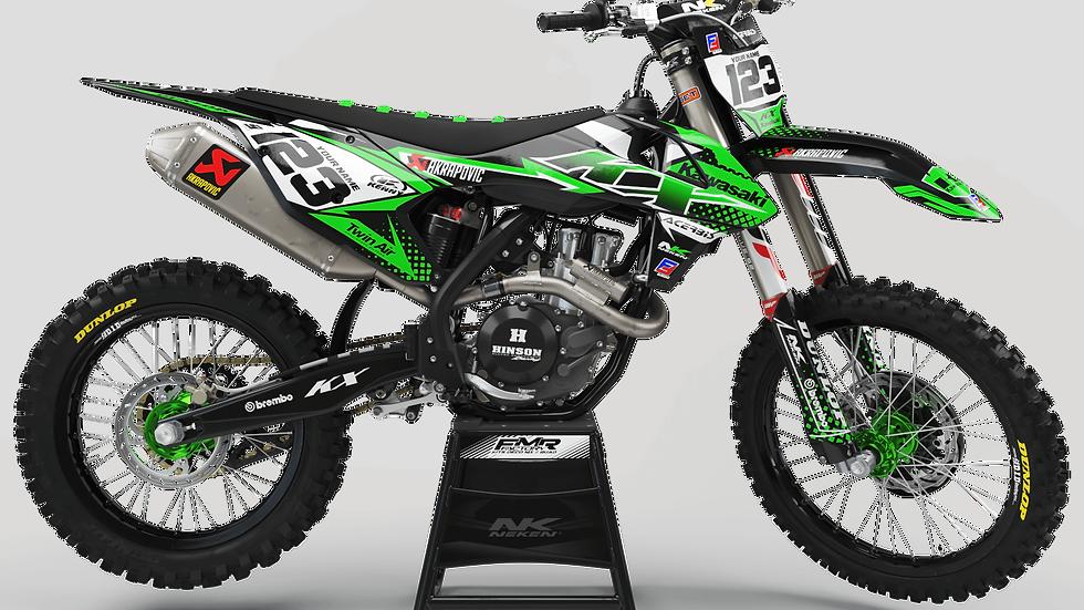 Custom dirt bike Graphics kit kawasaki FACTORY ENERGY CA33B green