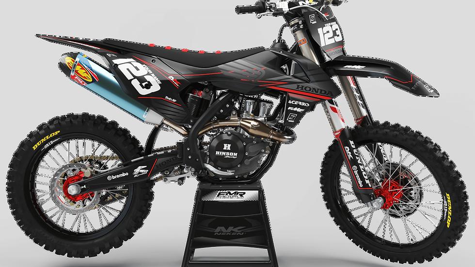 Custom dirt bike Graphics kit HONDA FACTORY NEKEN BLACK MATTE CA31A