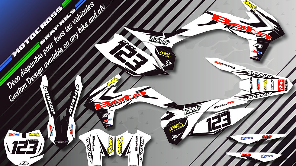 "Custom dirt bike Graphics kit ""Factory White Edition CA10GW"""