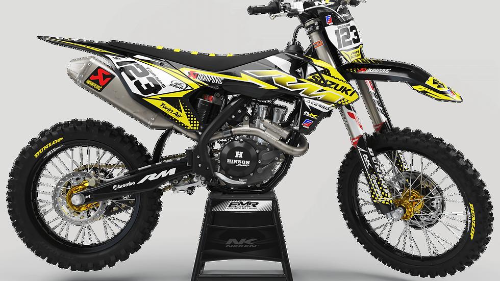Custom dirt bike Graphics kit suzuki FACTORY ENERGY CA33D yellow