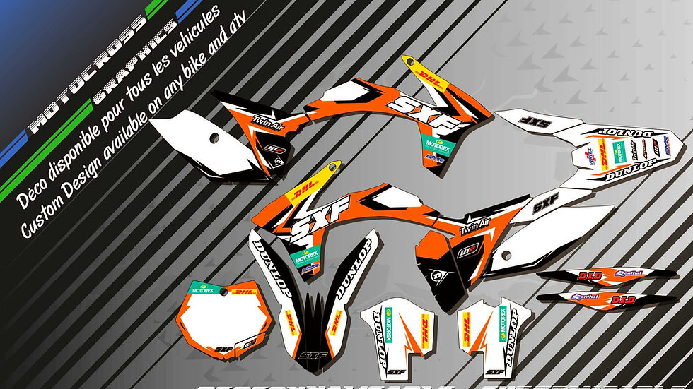 """Factory Replica KTM CA10C"" Graphic kit KTM SX SXF Series 98-17"