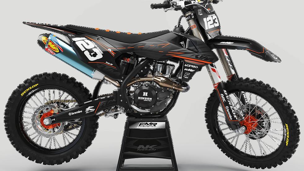 Custom dirt bike Graphics kit ktm FACTORY NEKEN BLACK MATTE CA31C