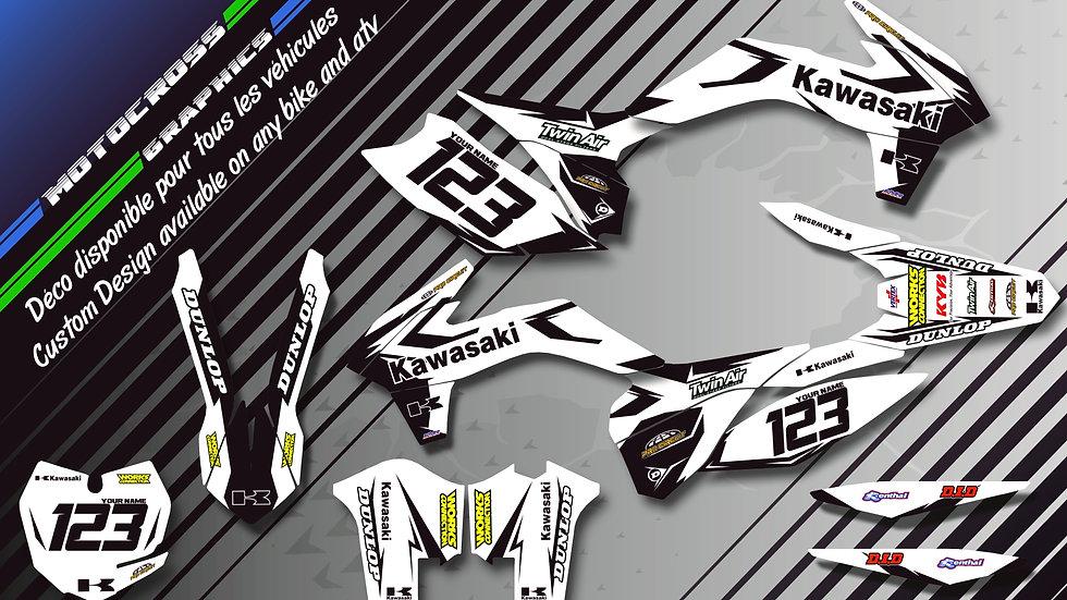 """Factory White Edition CA10BW"" Graphic kit KAWASAKI KLX 140"