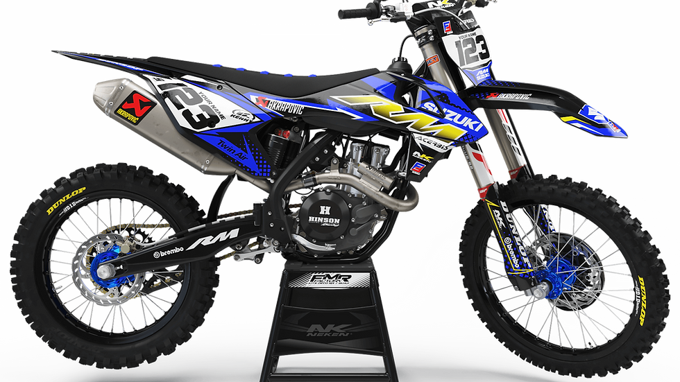 Custom dirt bike Graphics kit suzuki FACTORY ENERGY CA33D2 blue/yellow