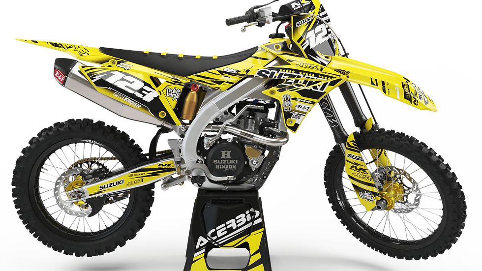 Custom dirt bike Graphics kit SUZUKI JUST1 YELLOW