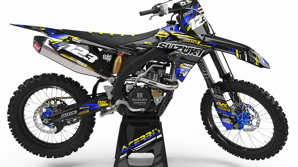 Custom dirt bike Graphics kit SUZUKI JUST1 BLACK