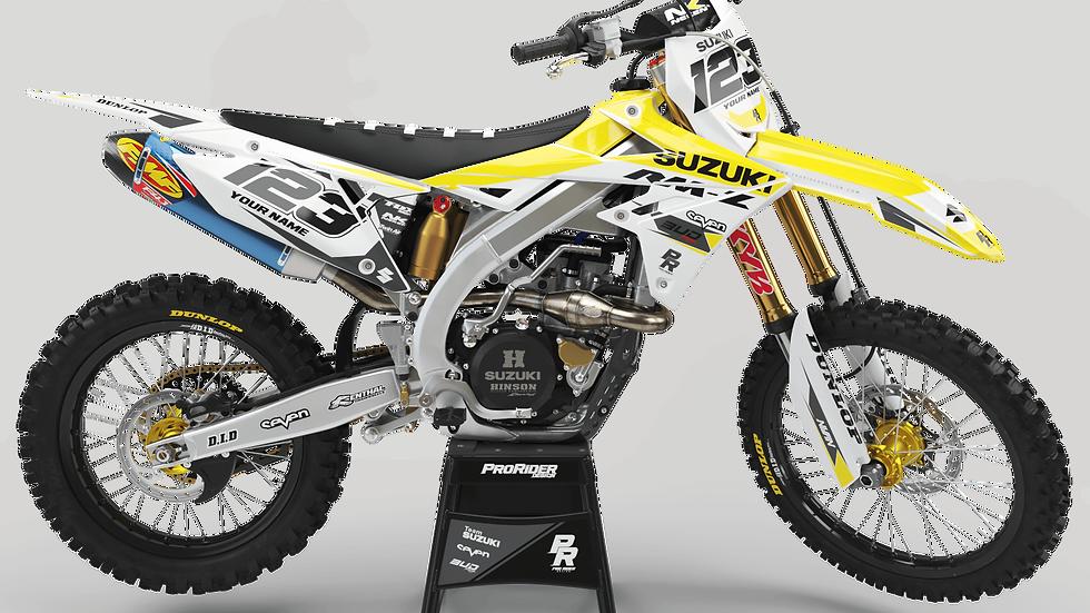 Custom dirt bike Graphics kit SUZUKI BUD RACING YELLOW WHITE CA36D6