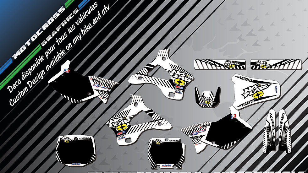 """""""NO FEAR CA5F"""" Graphic kit KAWASAKI KX 125 & 250"""