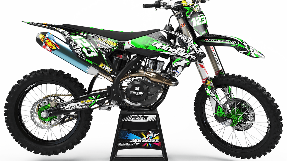 "Custom dirt bike Graphics kit ""ALPINESTARS CA4B"" green"