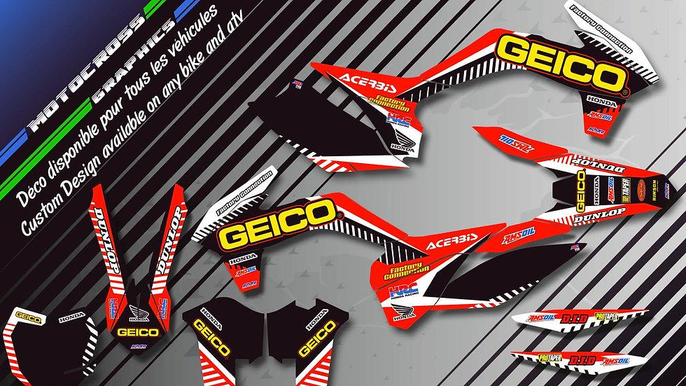 "Custom dirt bike Graphics kit HONDA ""GEICO CA12A"""