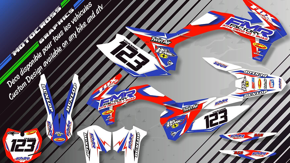 "Custom dirt bike Graphics kit ""Fmr Factory CA13A"""