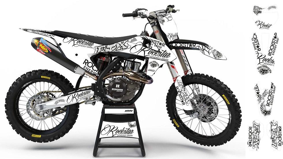 "Custom dirt bike Graphics kit ""ROCKSTAR Signature"" White A30WTBK"