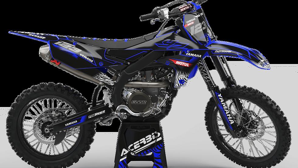 Custom dirt bike Graphics kit YAMAHA MOTUL BLACK and BLUE