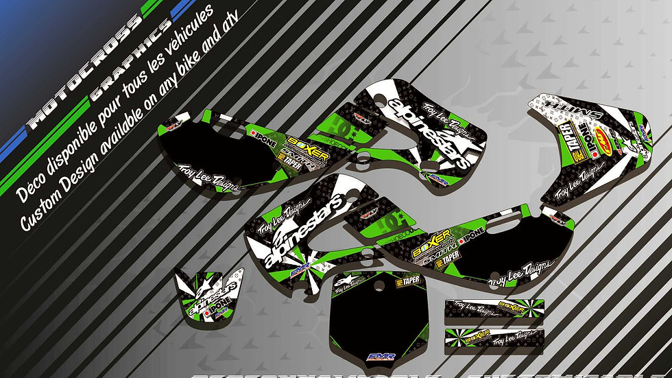 """ALPINESTARS CA4B"" Graphic kit KAWASAKI KX 65"