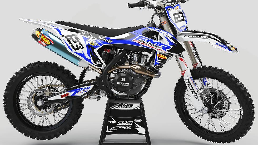 """Custom dirt bike Graphics kit """"FMR FACTORY CA13E"""" blue"""