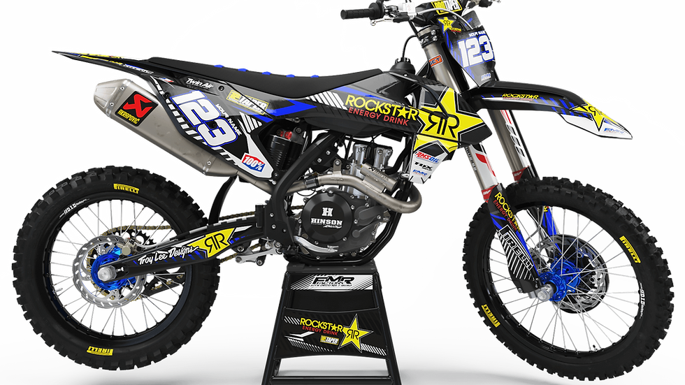Custom dirt bike Graphics kit ROCKSTAR Limited Edition CA19E blue