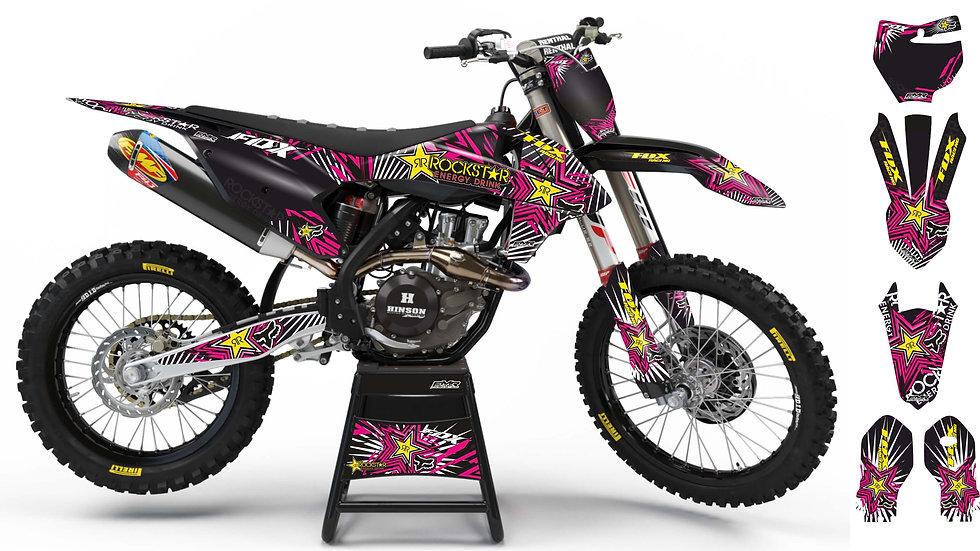 "Custom dirt bike Graphics kit ""FOX BOMB"" pink mode A29PK"