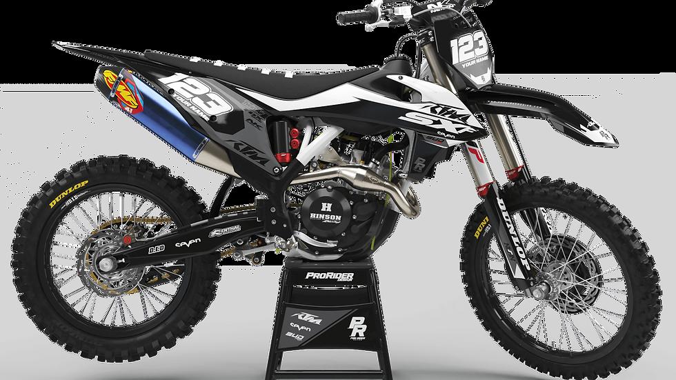 Custom dirt bike Graphics kit KTM BUD RACING BLACK|WHITE CA36C5