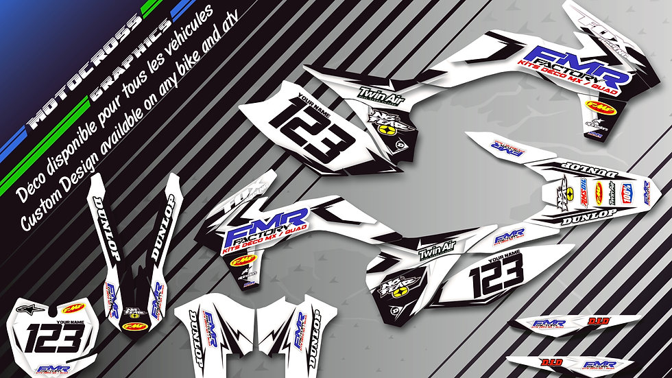 """Fmr factory WT Edition CA13WT"" Graphic kit KAWASAKI KLX 140"