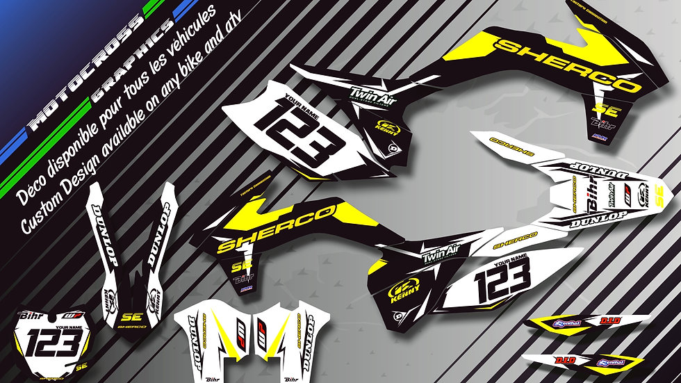 "Custom dirt bike Graphics kit SHERCO ""Factory Black Edition CA10FB"""