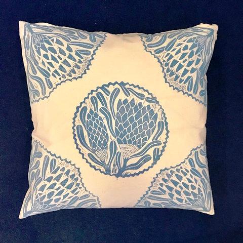 Blue Hand Printed Cushion