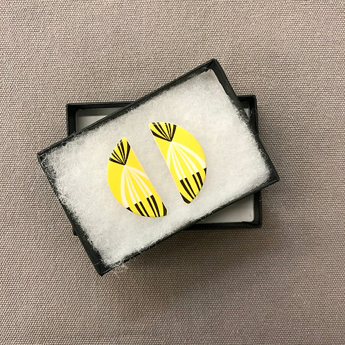 Yellow Geo Half Moon Earrings