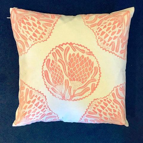 Coral Hand Printed Cushion