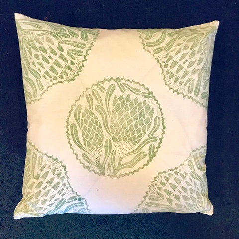 Olive Hand Printed Cushion