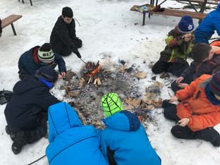 Playing in the Snow at Winter Camp