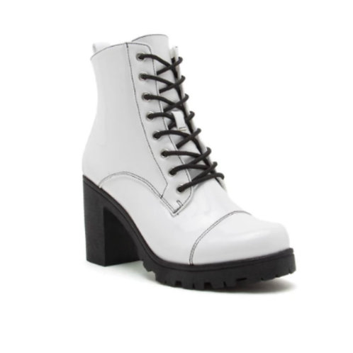 WHITE PATENT CITY BOOTS