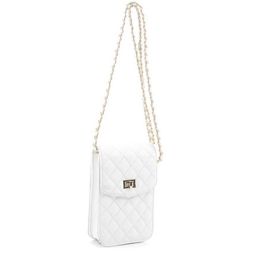 WHITE QUILTED TWIST CROSSBODY