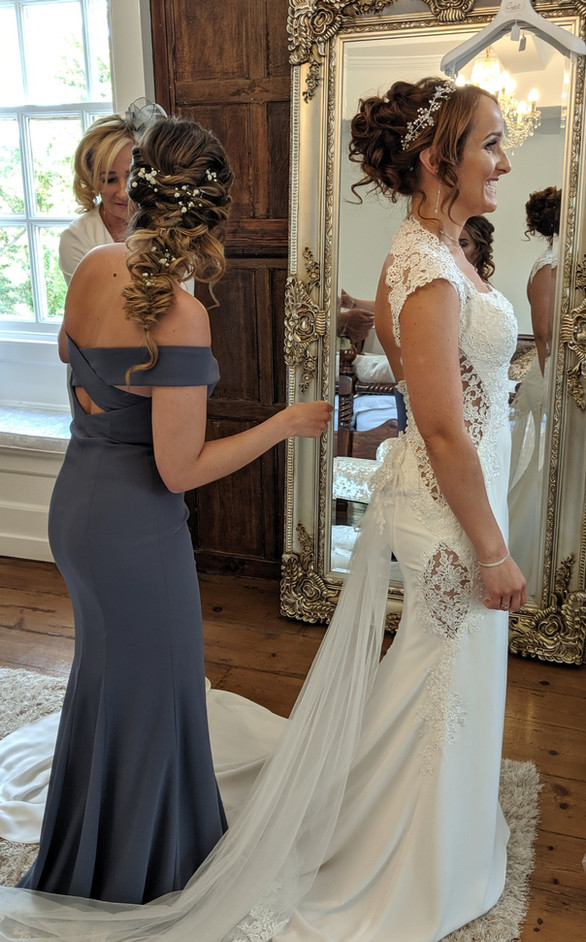 hutton hall wedding venue bride and bridesmaid hair and makeup