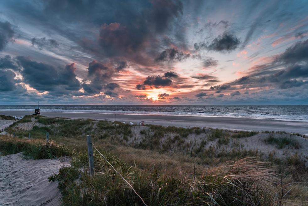 Sonnenuntergang am Strand von Spiekeroog