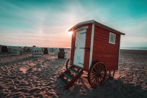 Umkleidewagen am Strand