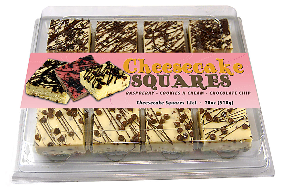 Cheesecake Squares with Mock Label