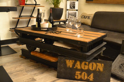 "Table basse Wagon ""Bistrot Loft"""