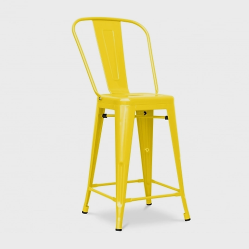 Yellow High Back Industrial Stool