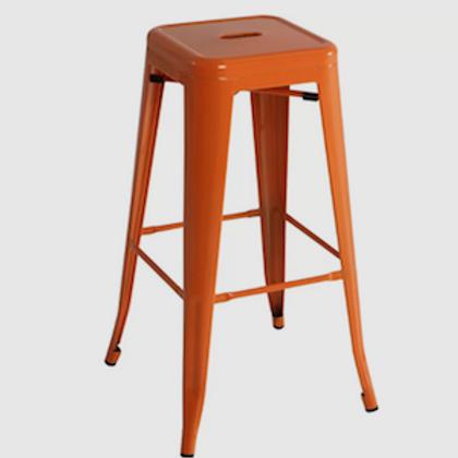 Orange Industrial Bar Stool
