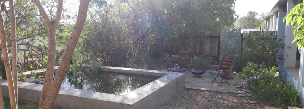 the natural pool and outdoor space