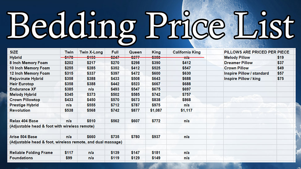 bedding pricing feb 2018 without hybrid_