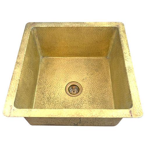 Bar Sink Square Brass Bar Kitchen Prep Sink (SBVA15-WBR+DRN)
