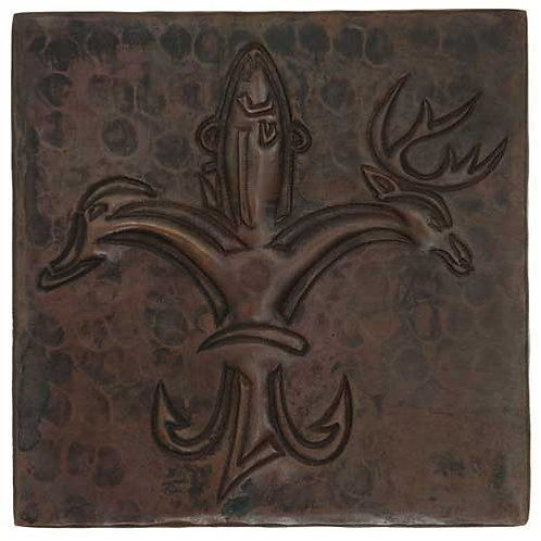 Copper Tile (TL361) Sportsmen Fleur De Lis Design