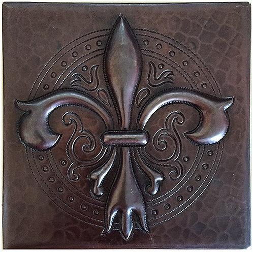 Copper Tile (TL990) Ornate Fleur De Lis Tile