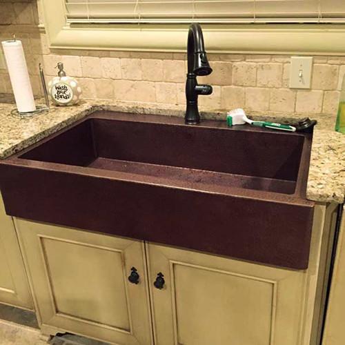 Custom Hammered Copper Kitchen Sink