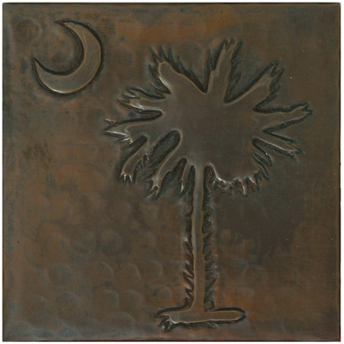 Copper Tile (TL980) Moon & Palm Design
