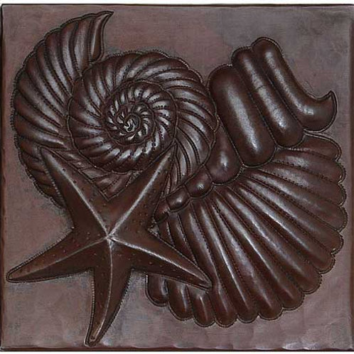 Copper Tile (TL357) Sea Shells & Starfish Design