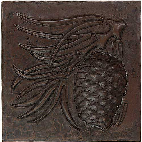 Copper Tile (TL342) Pinecone Arts & Crafts Design