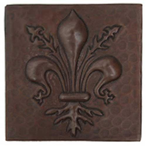 Copper Tile (TL346) Fleur De Lis Vine Design