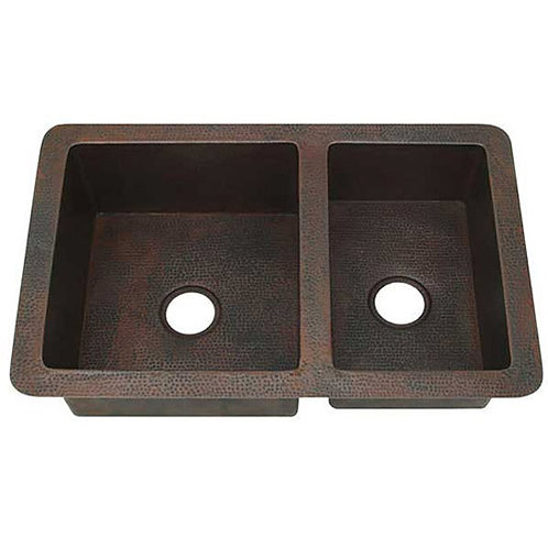 Copper Kitchen Sinks-Double Bowl (KDI-W2-6040)