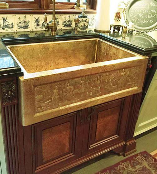 Custom Brass Copper Kitchen Farmhouse Apron Sink